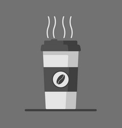 Coffee cup icon with coffee beans on grey vector