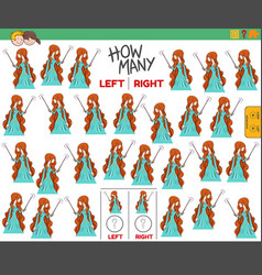 Counting left and right pictures cartoon witch vector