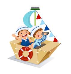 Creative boy and girl playing sailor vector