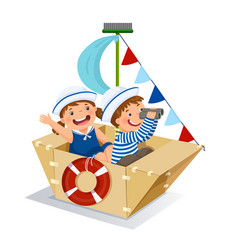 Creative boy and girl playing sailor with vector