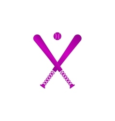 Crossed baseball bats and ball set vector
