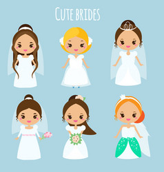 cute cartoon brides princess in wedding dresses vector image