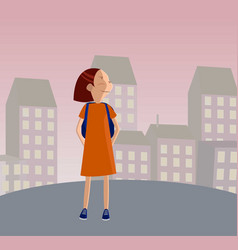 Cute girl in uniform going to school with backpack vector