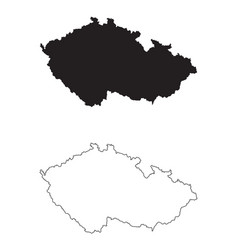 Czech republic country map black silhouette vector