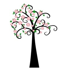 Decorative Spring Tree Silhouette With Green Leave vector image