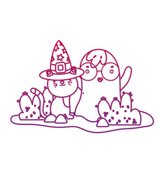 Degraded outline cute cat with hat and ghost vector