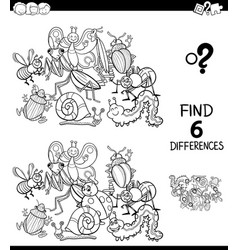 Differences color book with insect characters vector