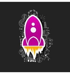 Drawing business formulas rocket vector