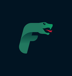 F letter logo with snake head silhouette vector