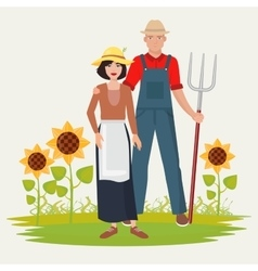 Farmers couple man and woman Male and female vector
