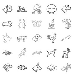 favorite animal icons set outline style vector image