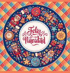 feliz navidad greeting card in spain background vector image