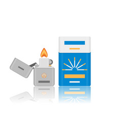 flat cigarette pack and lighter icon vector image