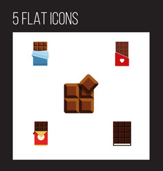 flat icon sweet set of dessert cocoa chocolate vector image