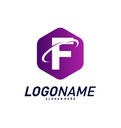 Font with planet logo design concepts letter f vector