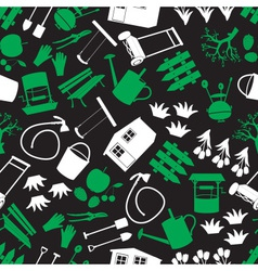 garden green white and black seamless pattern vector image