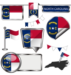 Glossy icons with North Carolinian flag vector