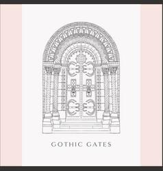 gothic gate hand drawn sketch vintage doors vector image