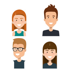 Group people young portrait together friends vector