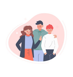 group teenage boys and girl or school friends vector image