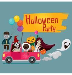 Halloween Ghost on Pickup vector image