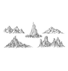 hand drawn mountains landscape vector image