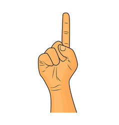 hand finger up gesture - realistic cartoon image vector image