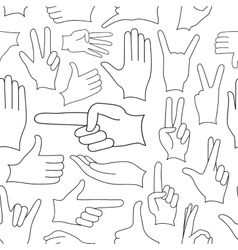 Hand signs icons set pattern vector
