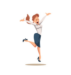 happy cheerful businesswoman in suit jumping up vector image