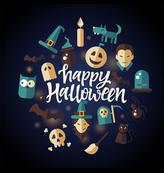 happy halloween - celebration poster on seamless vector image