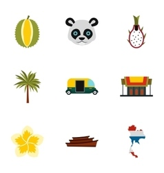 Holiday in thailand icons set flat style vector