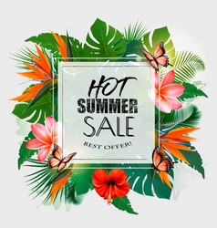 Hot summer sale background with exotic leaves and vector