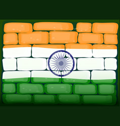 India flag on brickwall vector