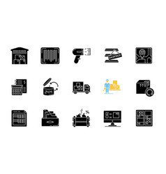 Inventory tracking black glyph icons set on white vector