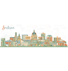 Jackson mississippi city skyline with color vector