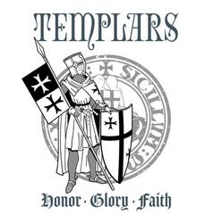 knightly design knight templar in armor vector image