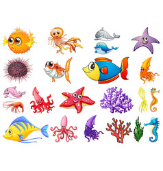 Large set sea creatures on white background vector