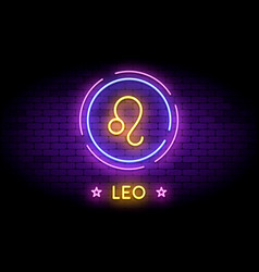 Leo zodiac symbol in neon style on a wall vector