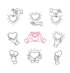 Lined hand love signs hands making heart shape vector