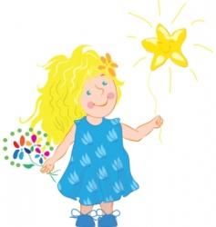 little girl holding a star vector image