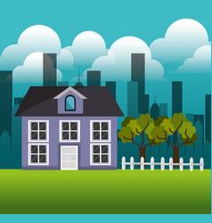 Lovely house family suburb landscape vector