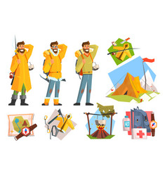 man dressed as camper fisher and climber camping vector image