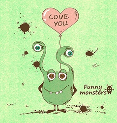 Monster holding a heart shape balloon vector image