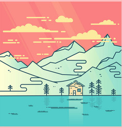 Mountains water and cloudy sky flat vector
