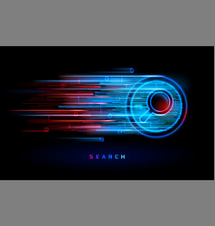 neon red blue magnifier internet search engine vector image