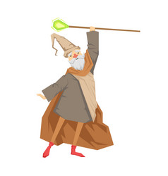 Old wizard with magic staff colorful fairy tale vector