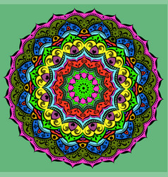 ornament of a circular mandala color vector image