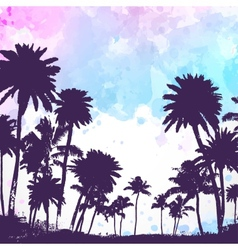 Palm trees on watercolor background vector image