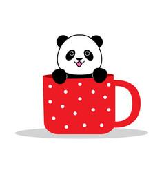 panda sits in a mug vector image