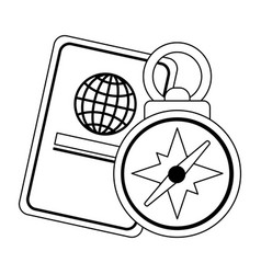 passport and navigation compass in black and white vector image